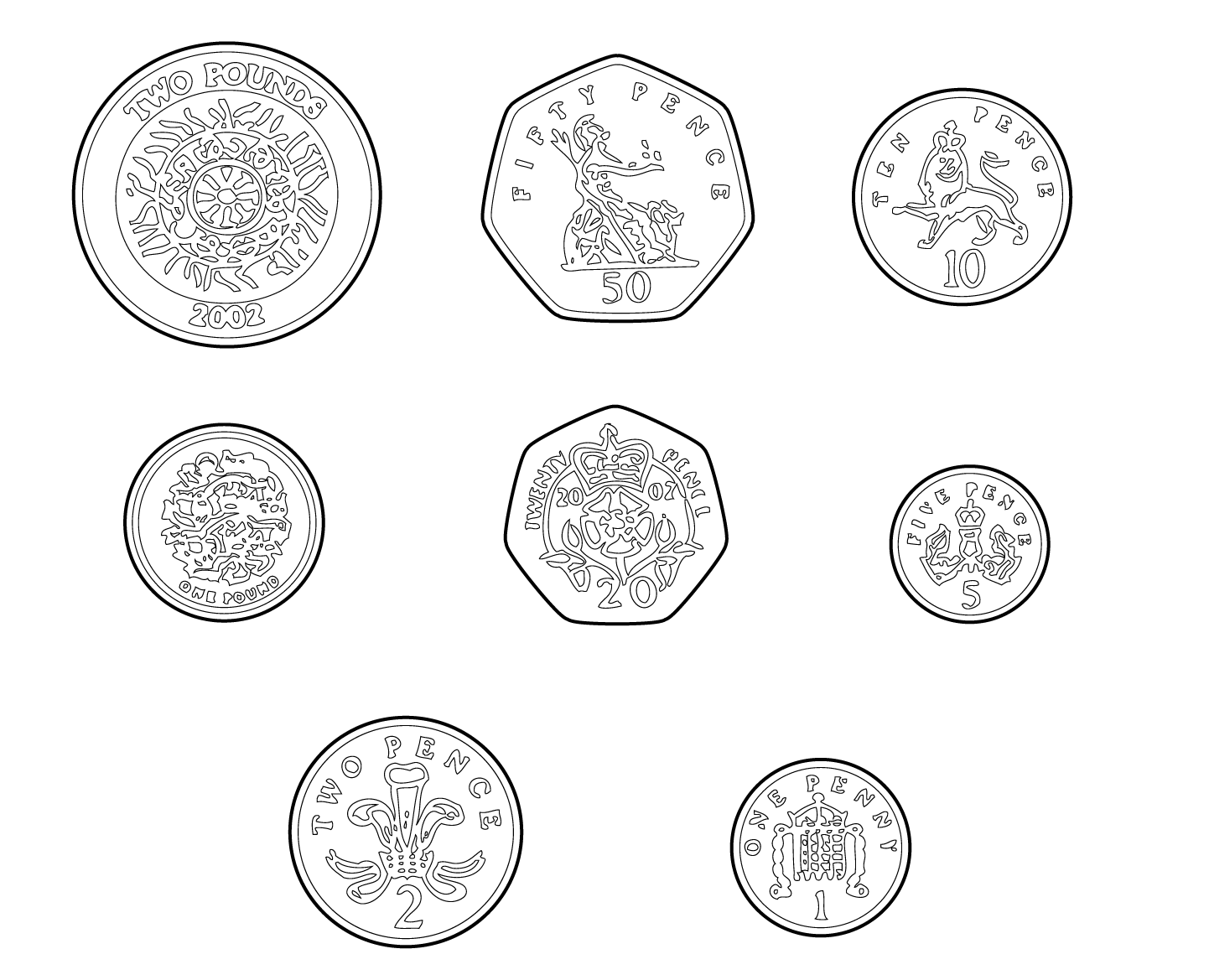 Coins Coloring Page