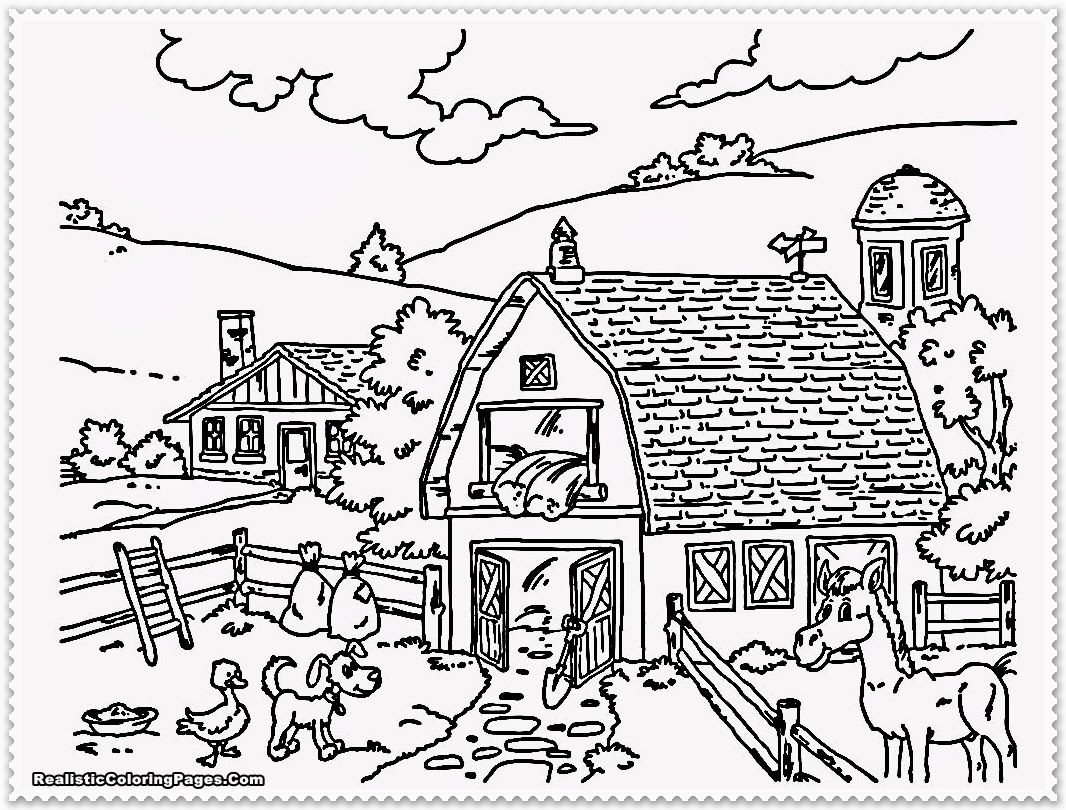 Black And White Farmyard Coloring Pages For Kids
