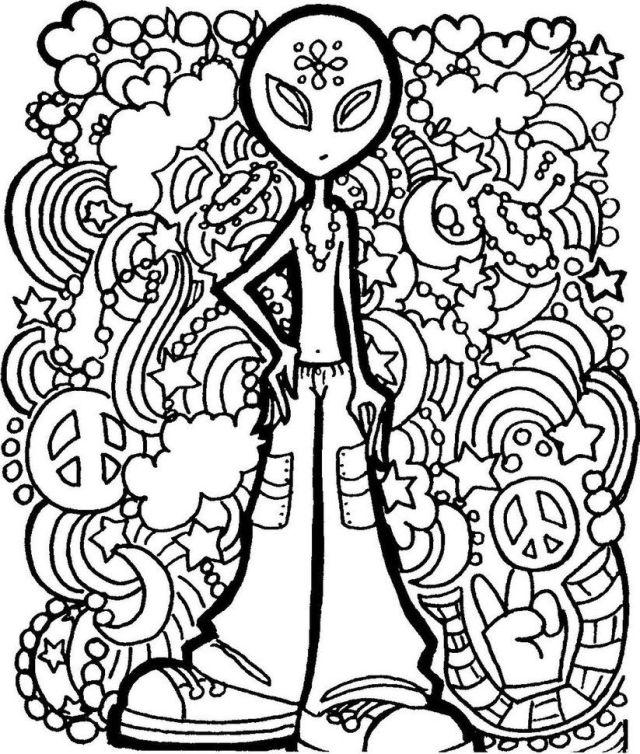 Slide Alt Trippy Mushroom Coloring Pages Psychedelic Mushroom