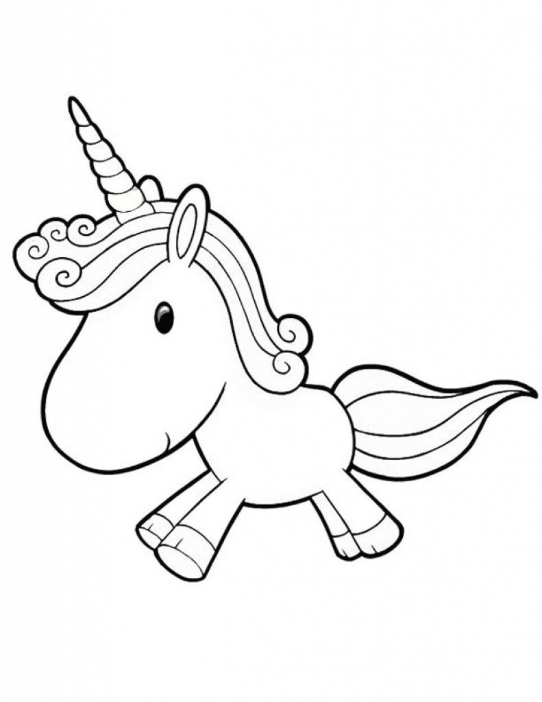 Unicorn Cute Coloring Pages : unicorn, coloring, pages, Cartoon, Unicorn, Coloring, Pages