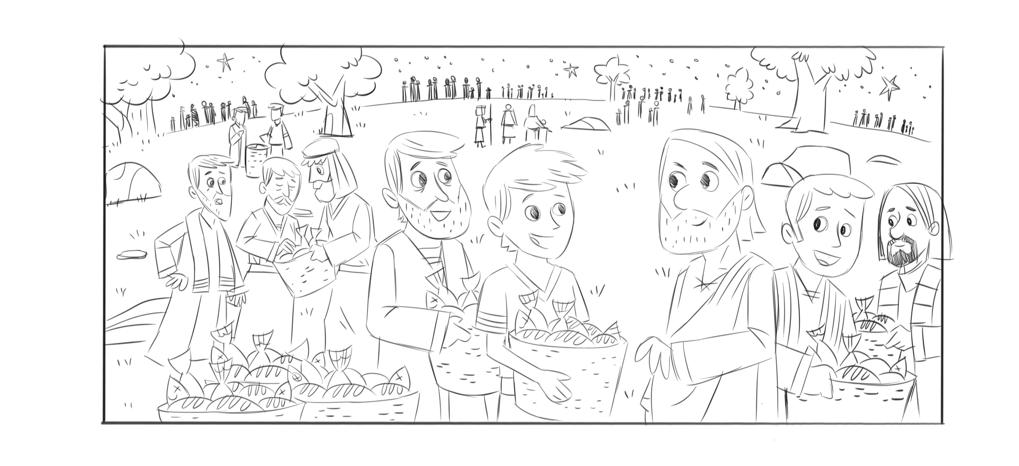 Coloring Page For Feeding Of The 5000 Bible Story Coloring Home