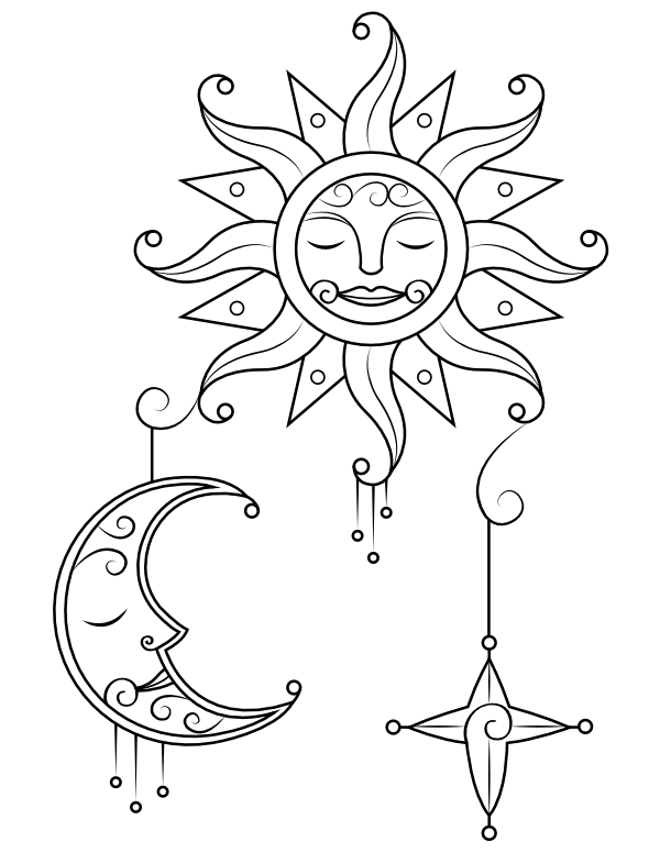 Moon And Stars Coloring Pages : stars, coloring, pages, Stars, Coloring, Pages