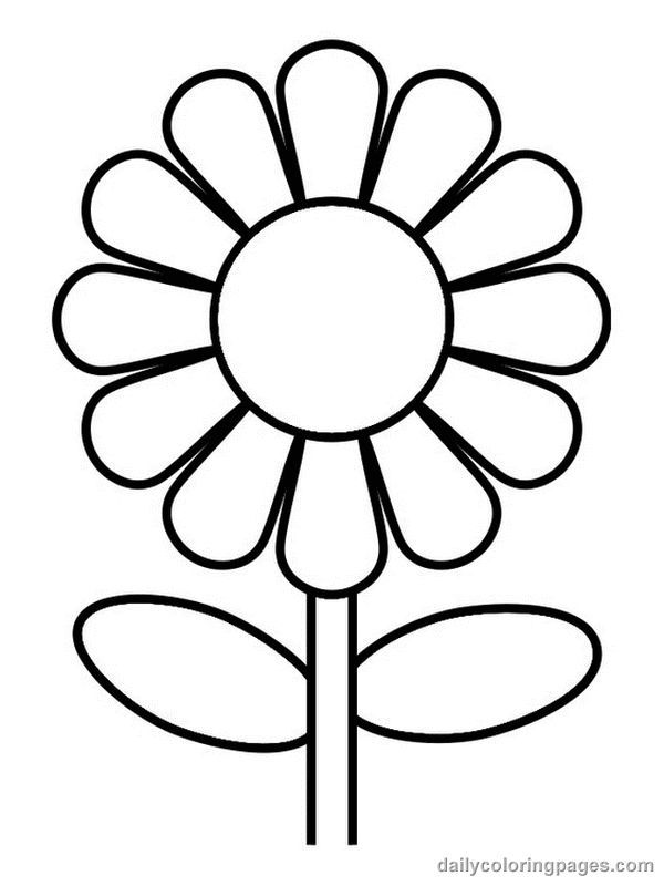 Easy Flower Coloring Pages Coloring Home