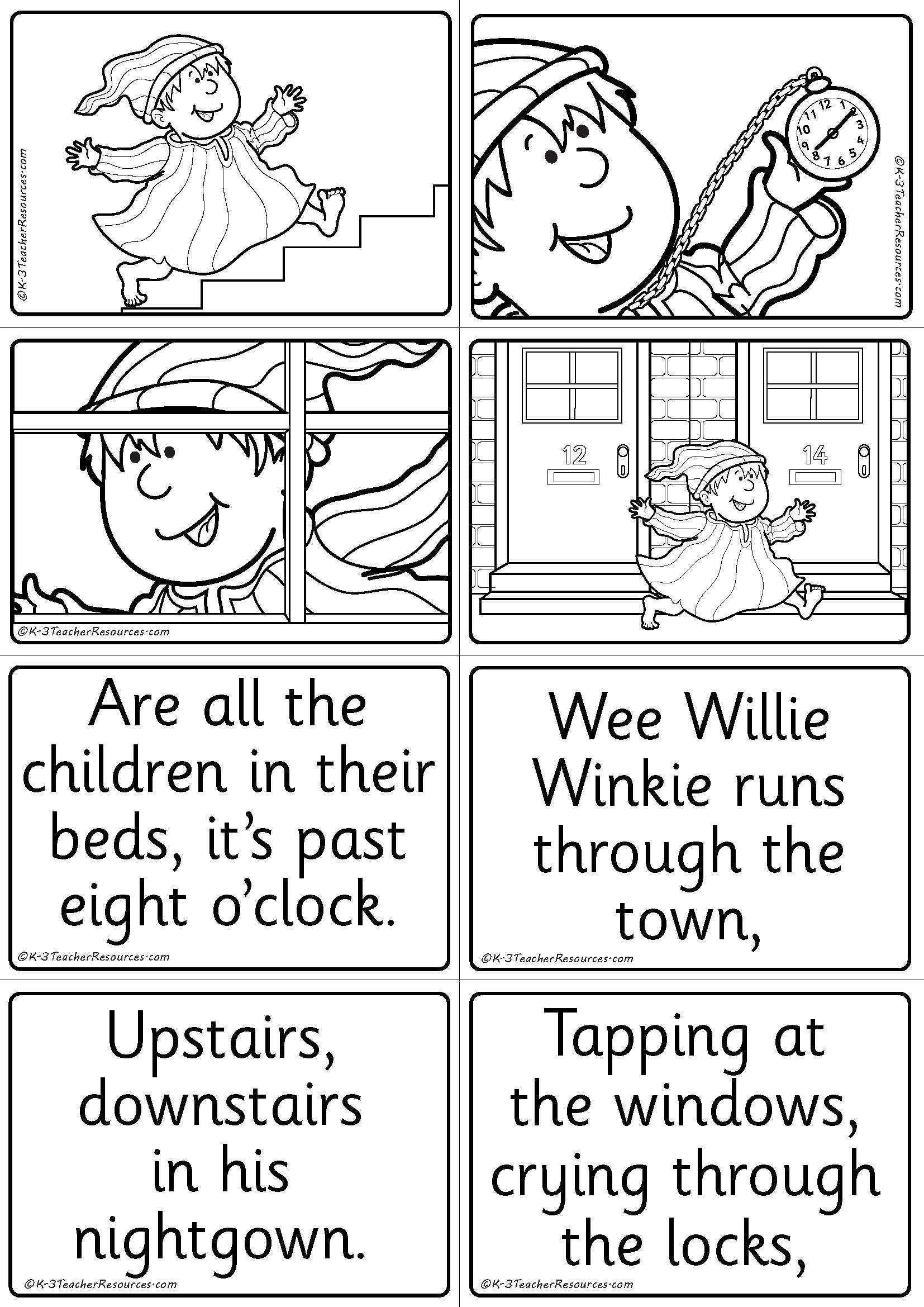 Wee Willie Winkie With Lyrics Coloring Page