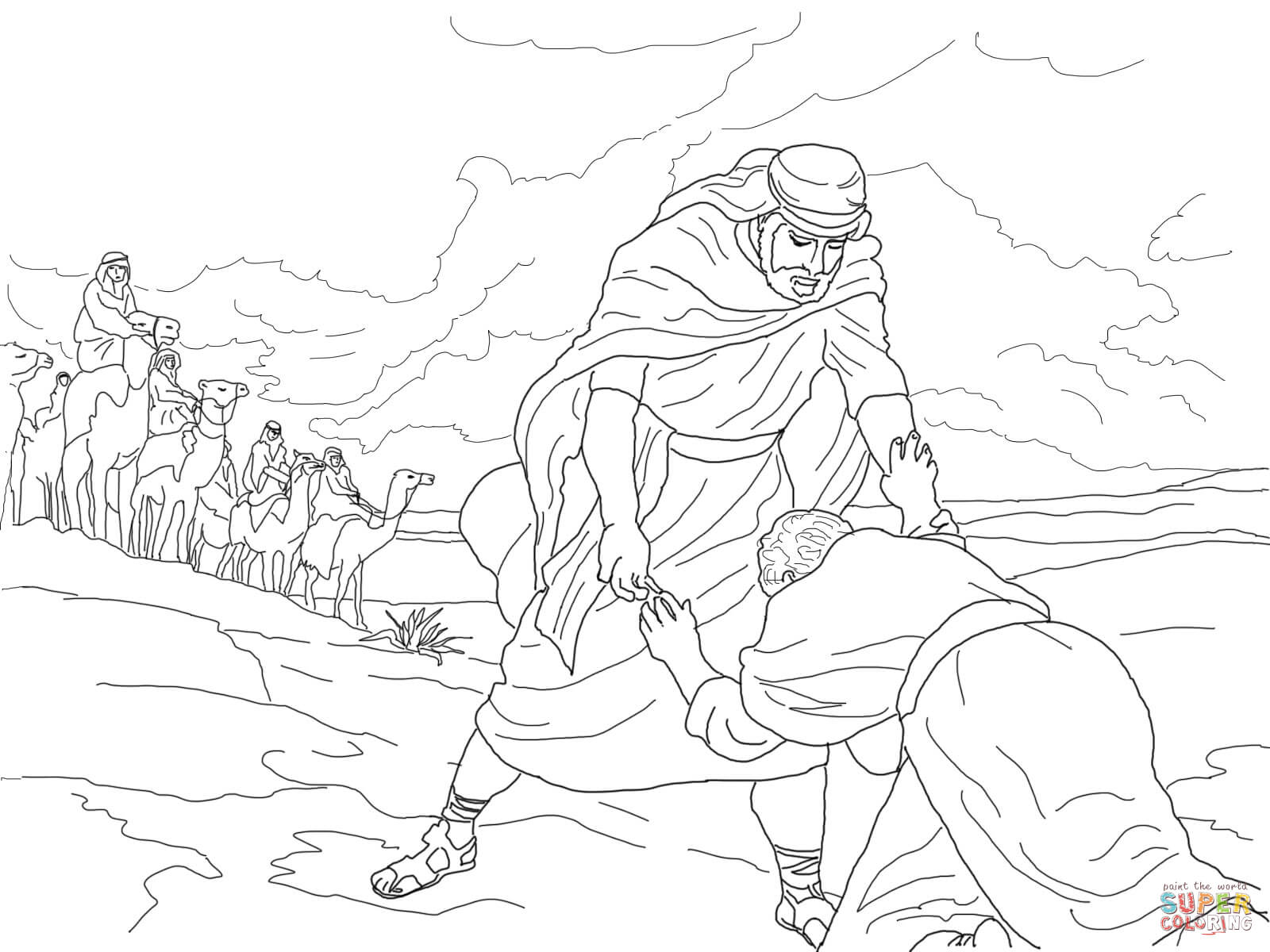 Jacob Meets Esau Coloring Page