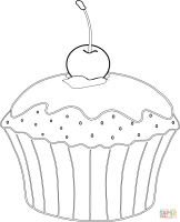 Muffin With Cherry Coloring Page   Coloring Home