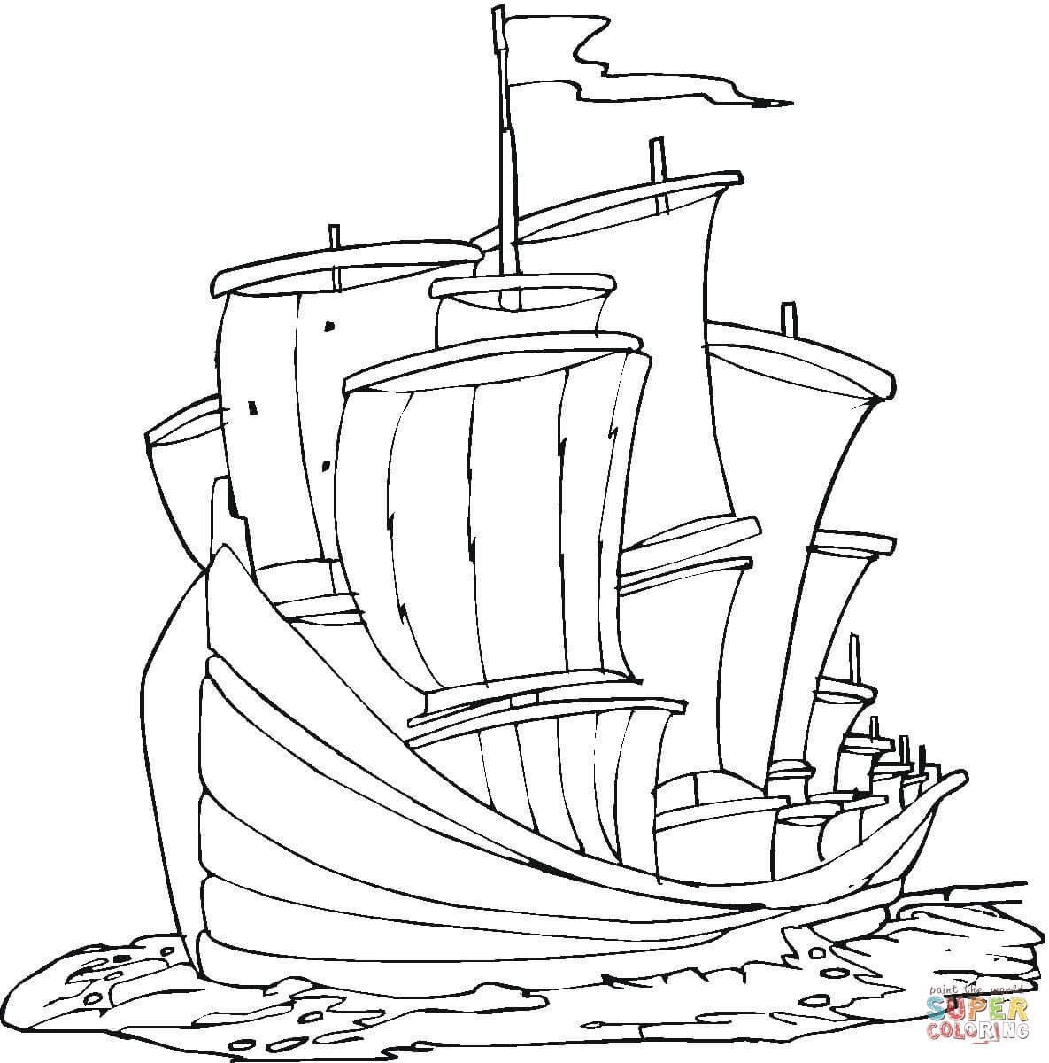 Santa Maria Ship Coloring Pages