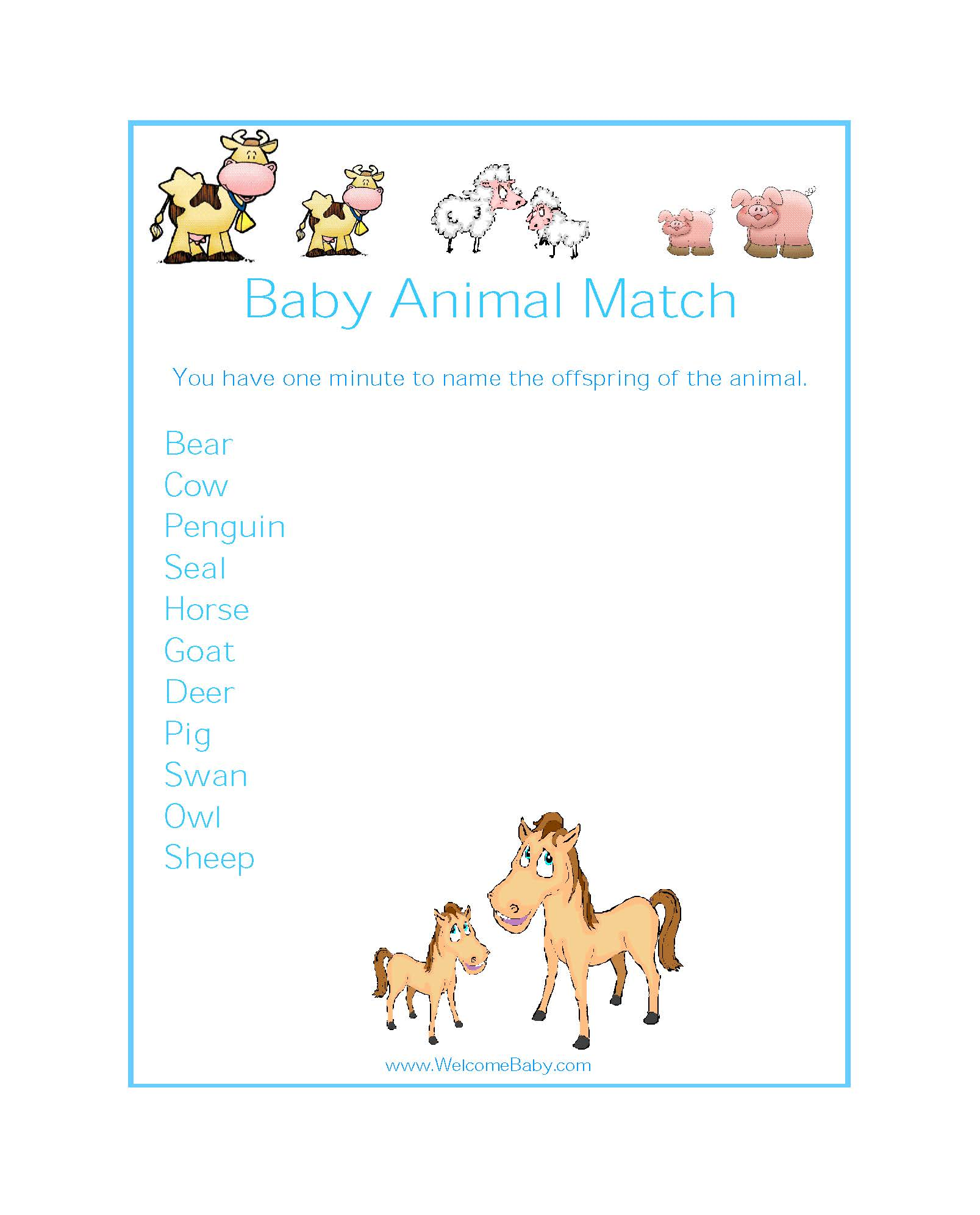 Baby Shower Baby Animals Coloring Page