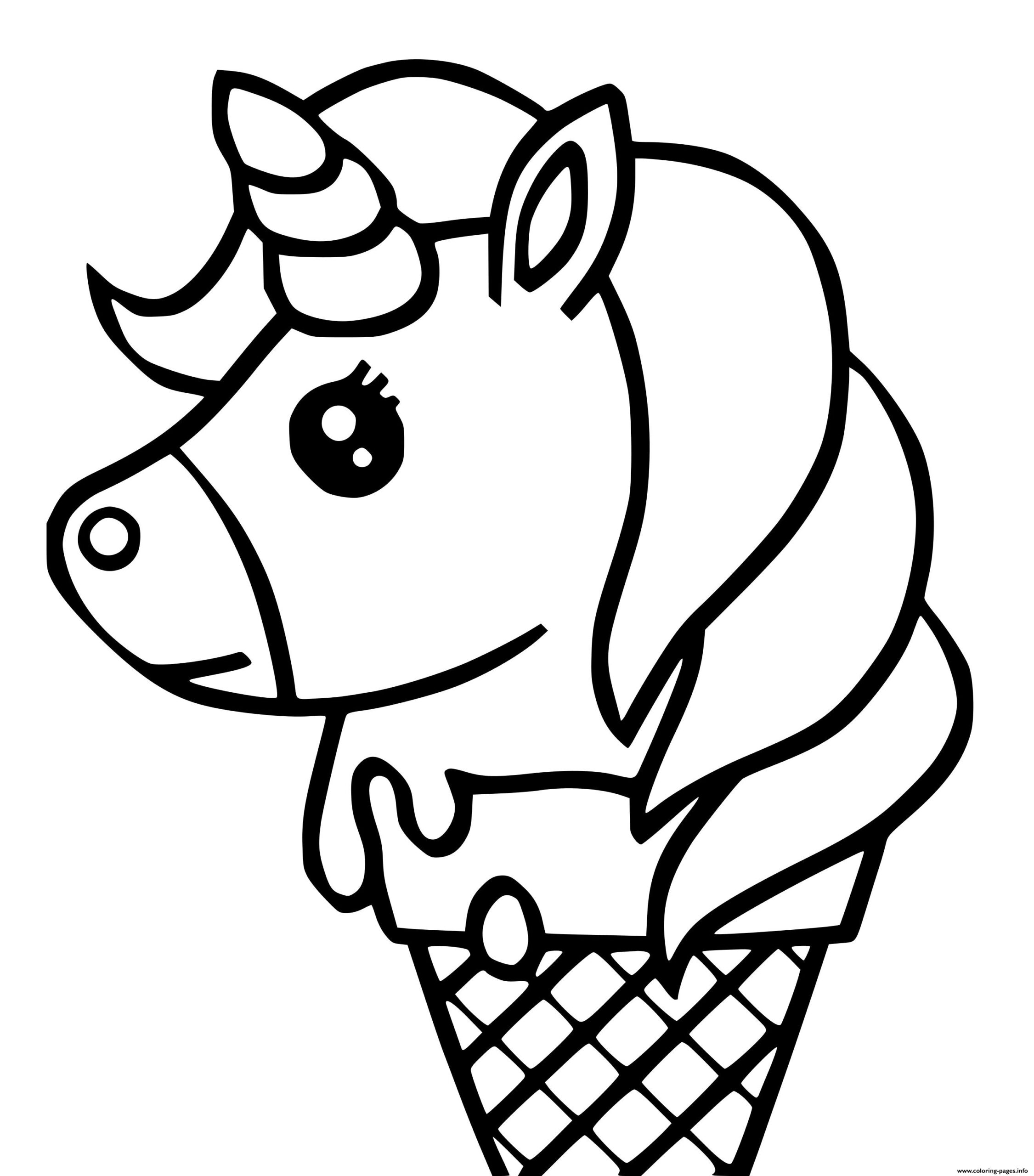 Coloring Pages Cute Unicorn Ice Cream Kawaii Coloring