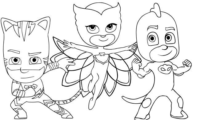 Coloring Pages : Coloring Pj Masks Drawing Super Book Gekko Free
