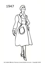 1940 coloring silhouettes 1947 body outline drawings 1949 1940s history line colouring coats woman silhouette coat 1950 costume comments