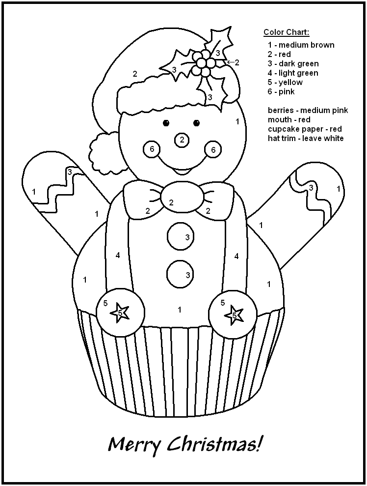 Color By Number Christmas Gingerbread Coloring Page
