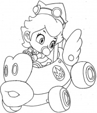 Print Baby Princess Peach Mario Kart Wii Coloring Pages Or