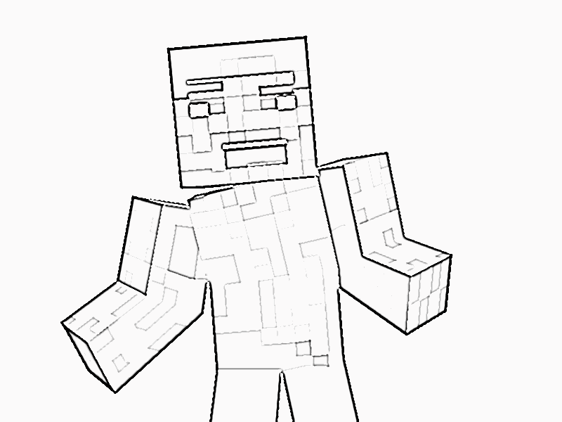Steve With A Sword Coloring Pages