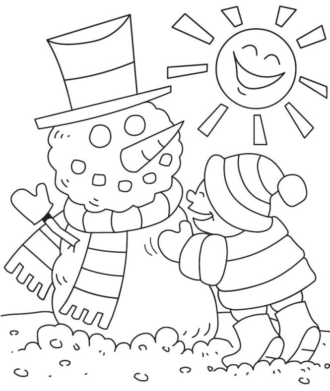 coloring page winter. Winter Coloring Pages 3 Kids For Kindergarten Free  Page for kids