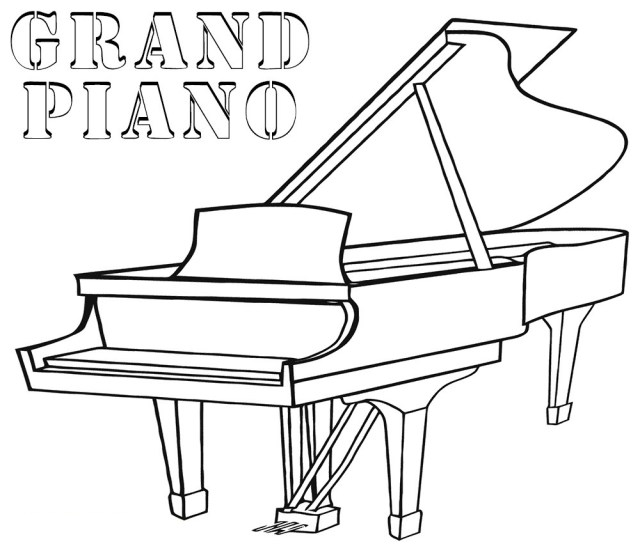 Grand Piano Coloring Page - Free Printable Coloring Pages for Kids