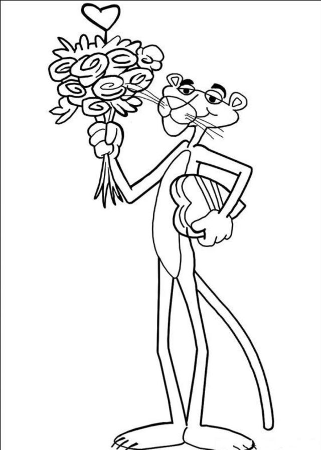 Pink Panther In Love Coloring Page - Free Printable Coloring Pages