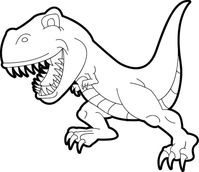Smiling T-Rex Coloring Page - Free Printable Coloring Pages for Kids
