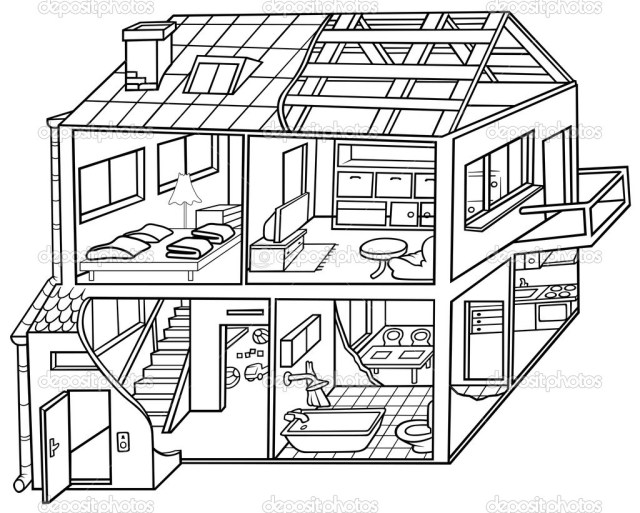 House Structure Coloring Page - Free Printable Coloring Pages for Kids