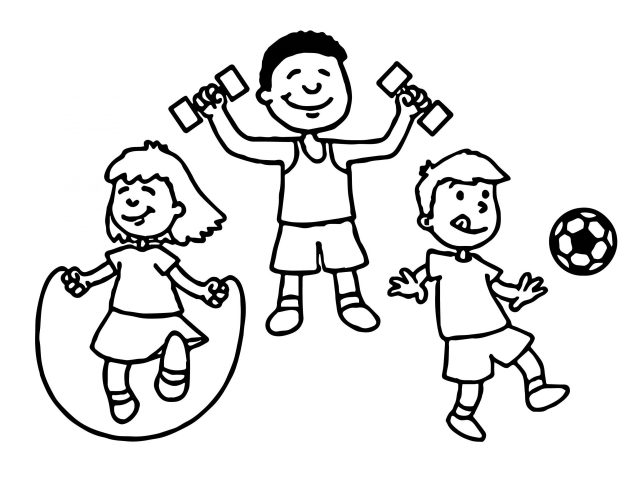 Kids With Sports Coloring Page - Free Printable Coloring Pages for