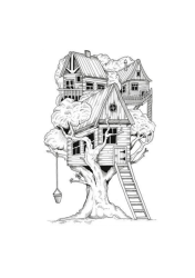 Tree House Coloring Page Free Printable Coloring Pages for Kids