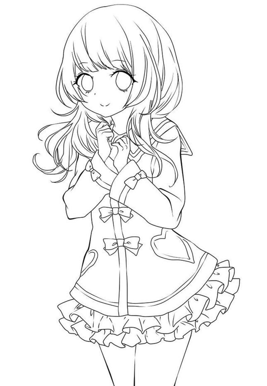 Anime Girl Coloring Pages : anime, coloring, pages, Anime, Coloring, Pages, Printable