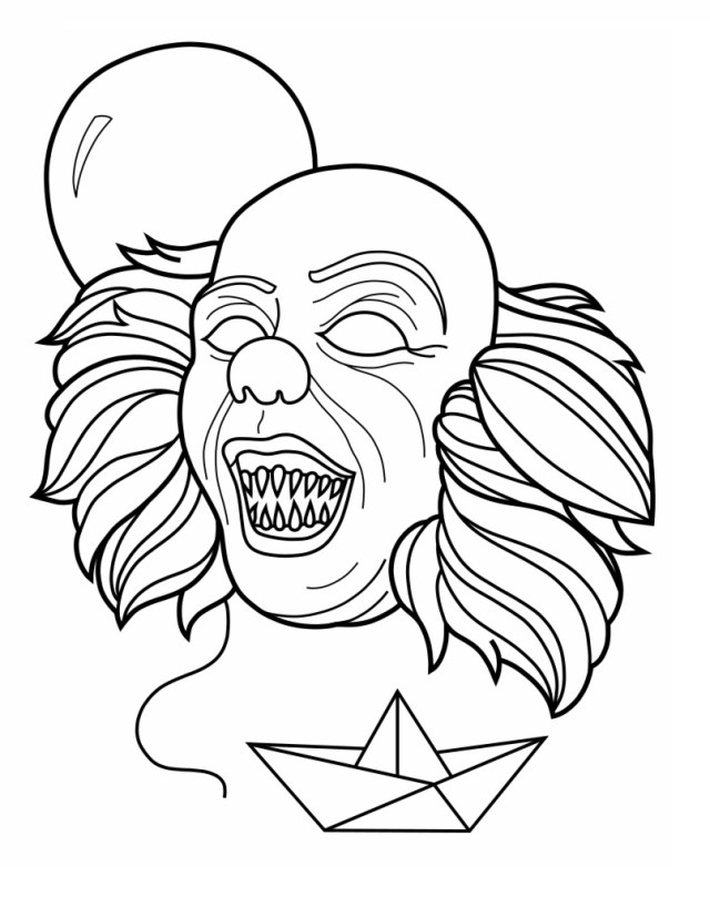 Creepy Clown Pennywise Coloring Page - Free Printable Coloring