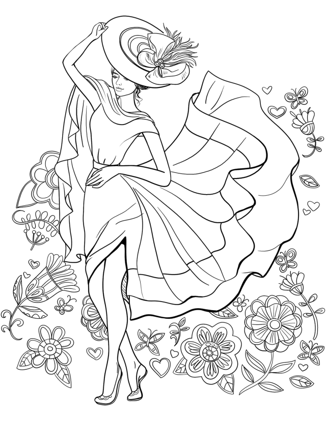 Beautiful Teenager Girl With Flowers Coloring Page - Free