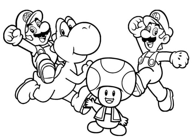 Characters from Mario Coloring Page - Free Printable Coloring