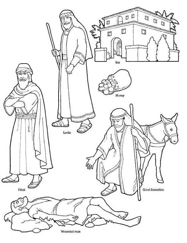 The Good Samaritan Coloring Pages : samaritan, coloring, pages, Samaritan, Coloring, Printable, Pages