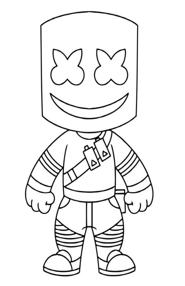 Little Marshmello Fortnite Coloring Page - Free Printable Coloring