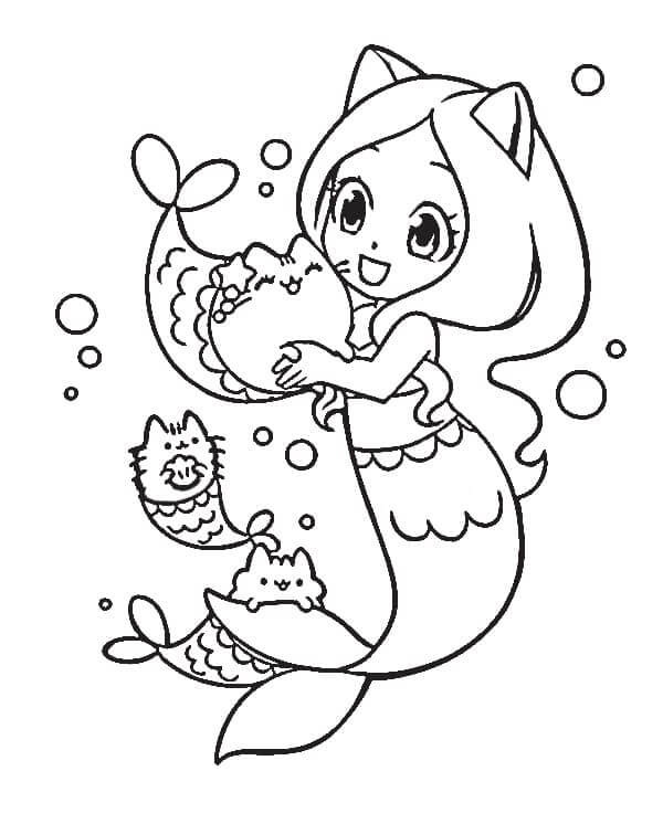picture Free Mermaid Coloring Pages pusheen with mermaid coloring page