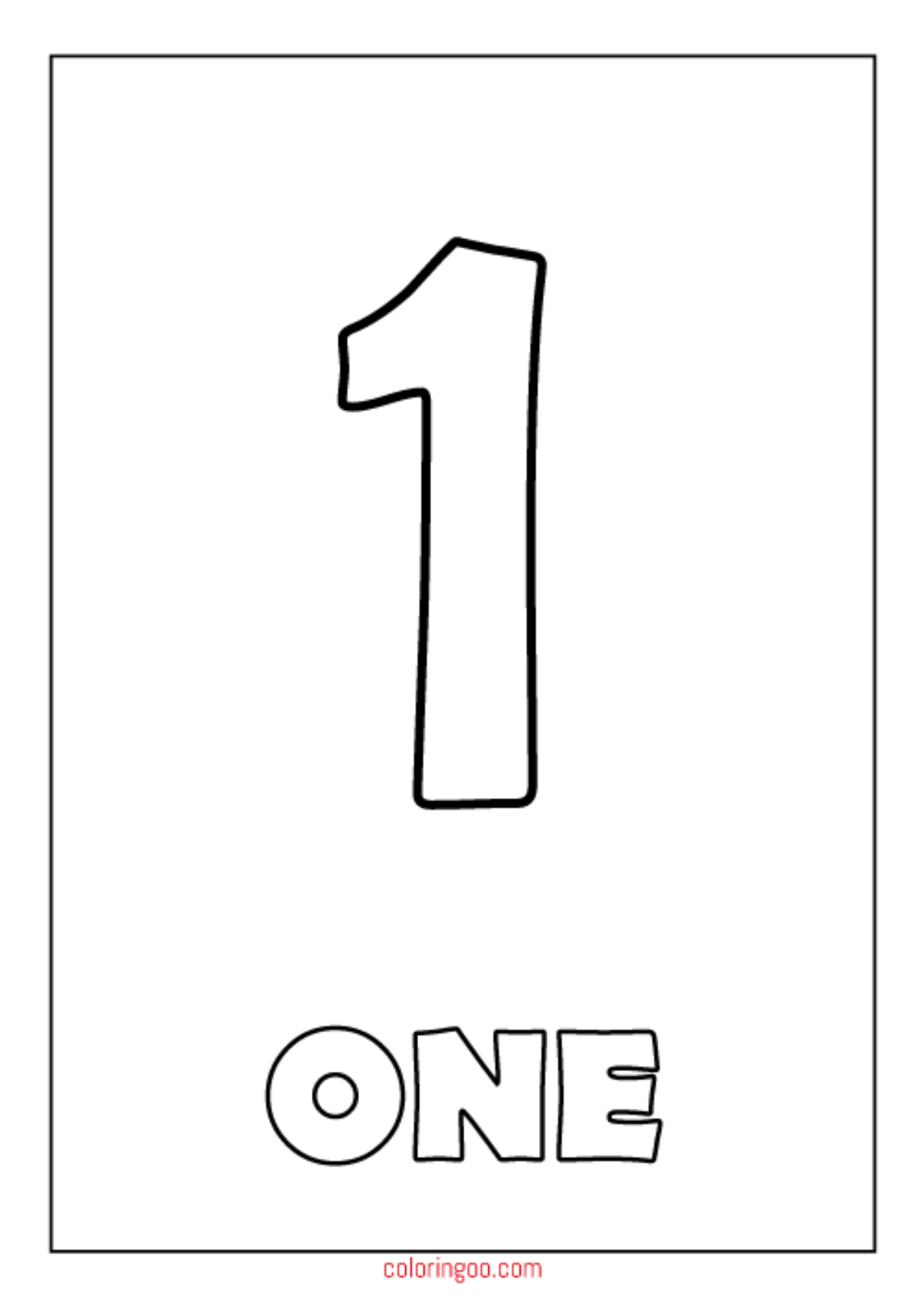 Printable Number 1 One Coloring Page Pdf For Kids