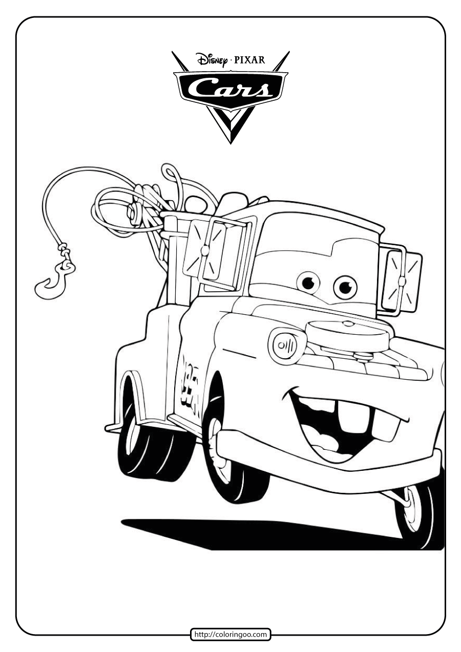 Disney Mater The Tow Truck Cars Coloring Pages