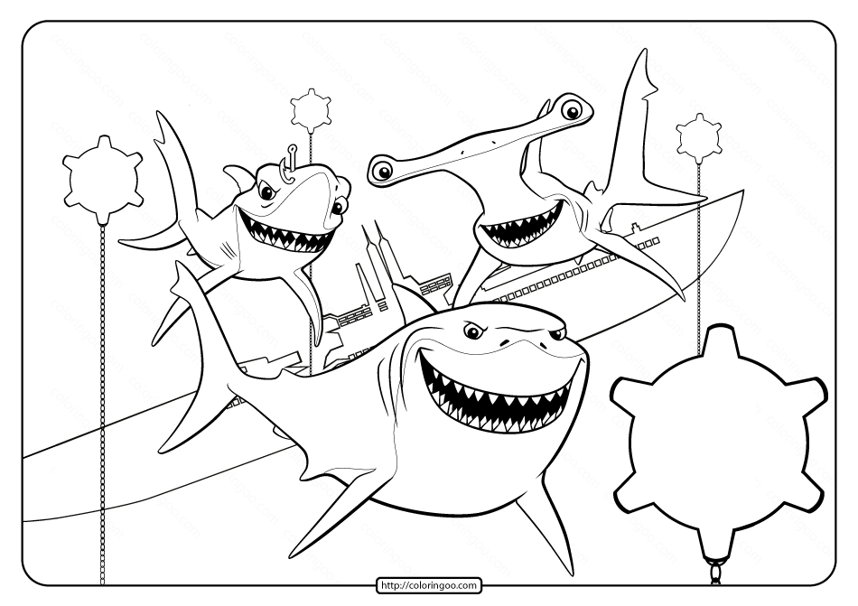 Printable Finding Nemo Shark Pdf Coloring Page