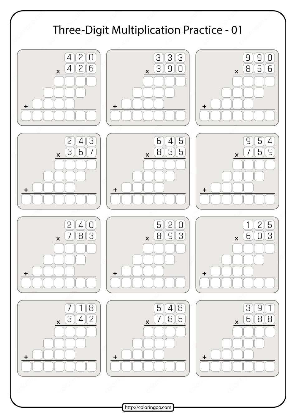 hight resolution of Printable 5th Grade Multiplication Worksheet 01