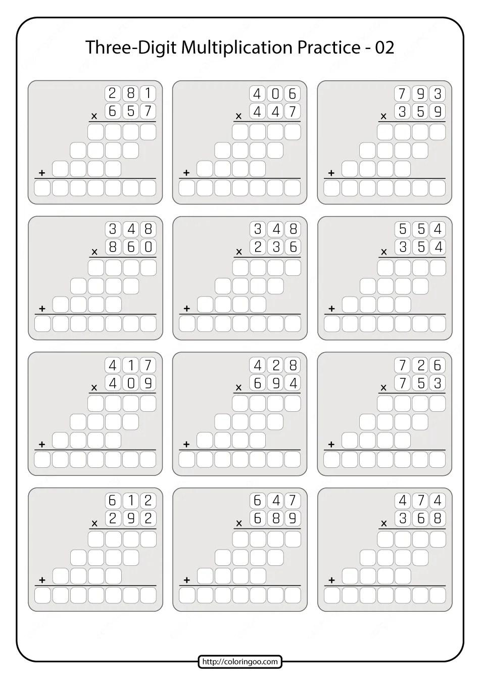 medium resolution of Printable 5th Grade Multiplication Worksheet 02