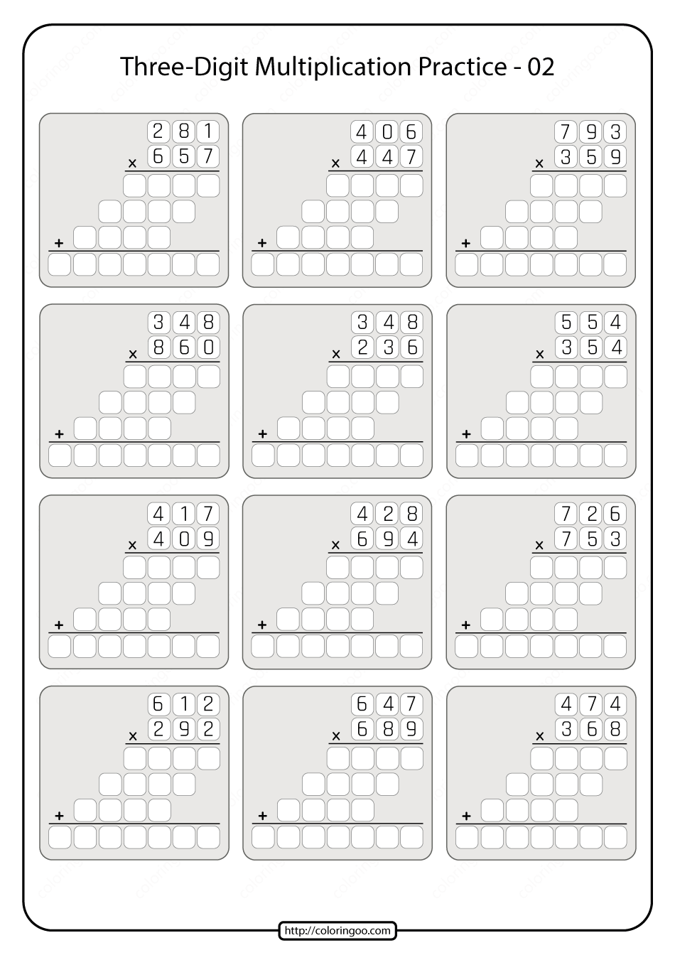 hight resolution of Printable 5th Grade Multiplication Worksheet 02