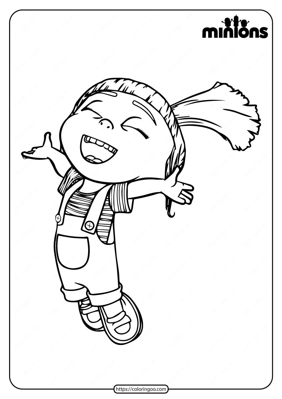 Printable Minions Agnes Pdf Coloring Page