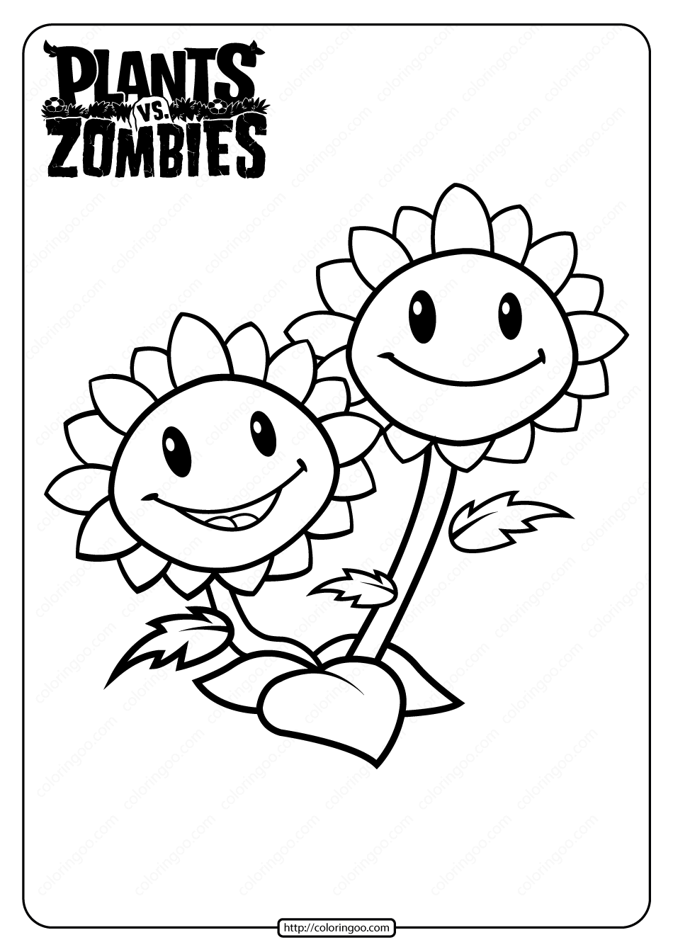 Plants vs Zombies Twin Sunflower Coloring Page