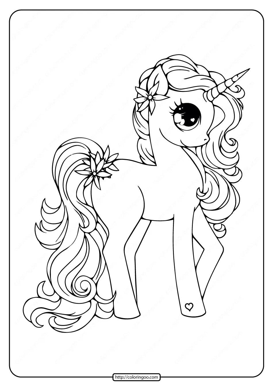 Printable Free Unicorn Pdf Coloring Book