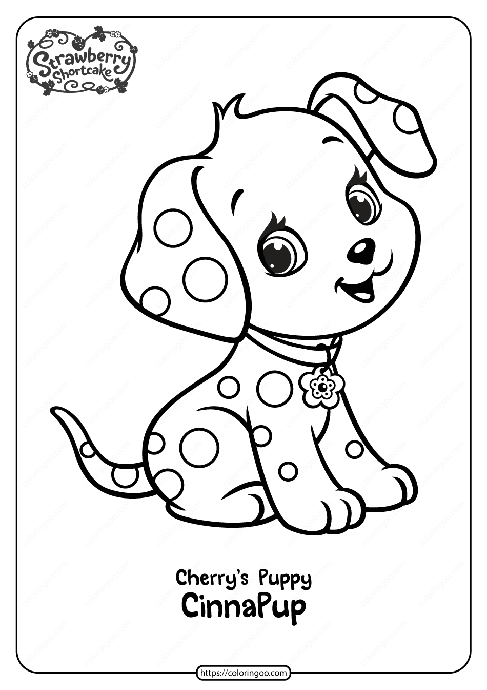 Free Printable Cherry's Puppy Cinnapup Coloring Page