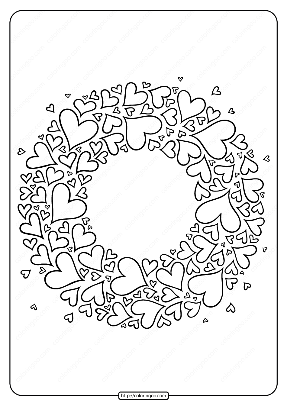 Free Printable Heart Wreath Pdf Coloring Page