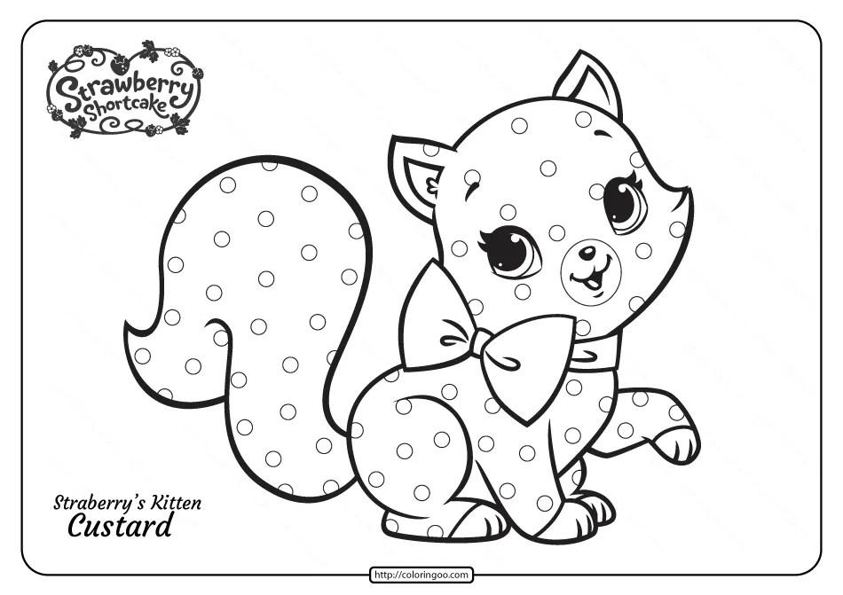 Strawberry's Cute Kitten Custard Pdf Coloring Page