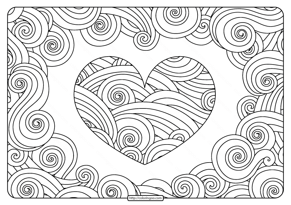Free Printable Swirly Hearts Pdf Coloring Page