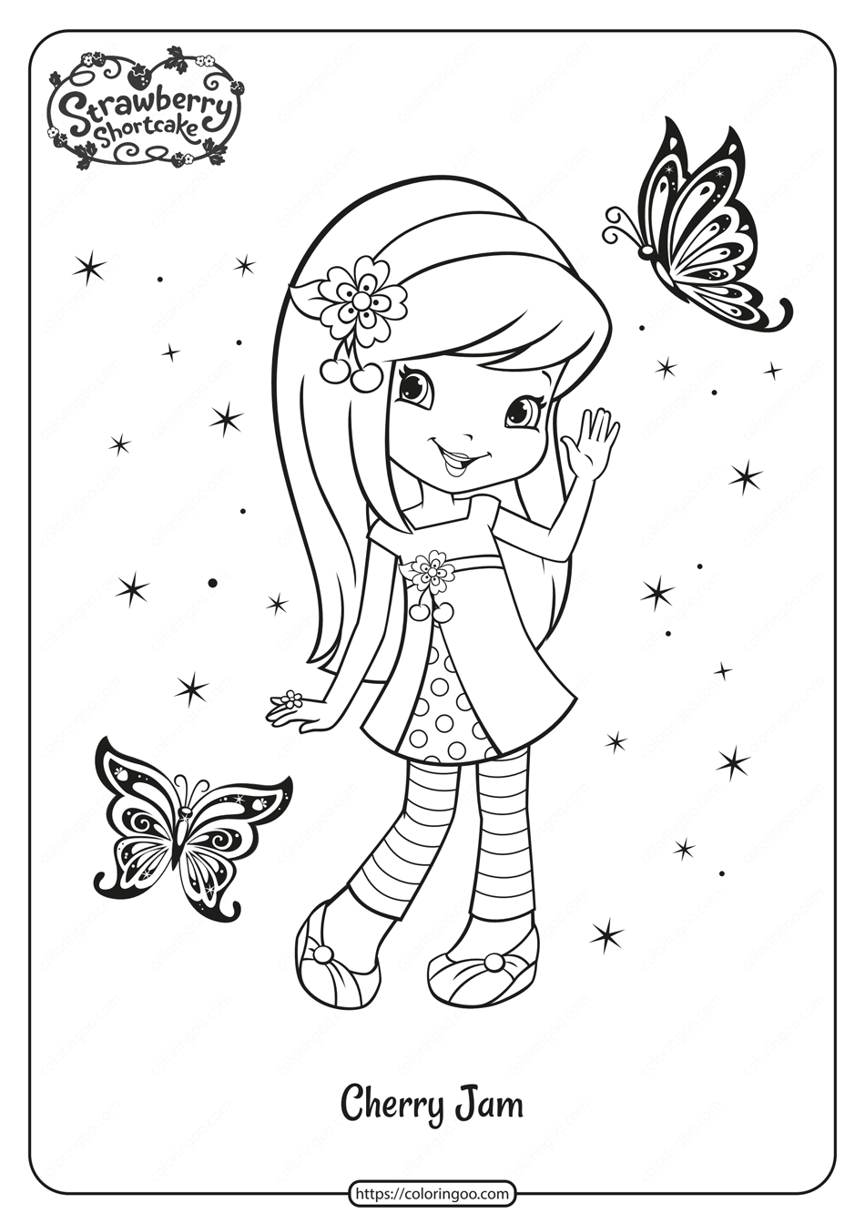 Printable Cherry Jam and Butterflies Coloring Page