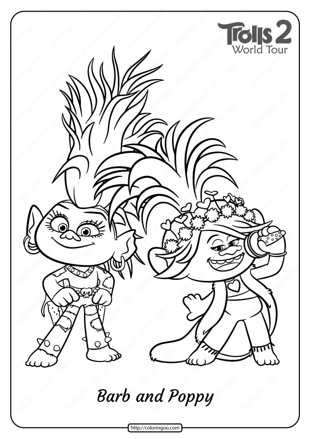 Printable Trolls 6 Barb and Poppy Pdf Coloring Page