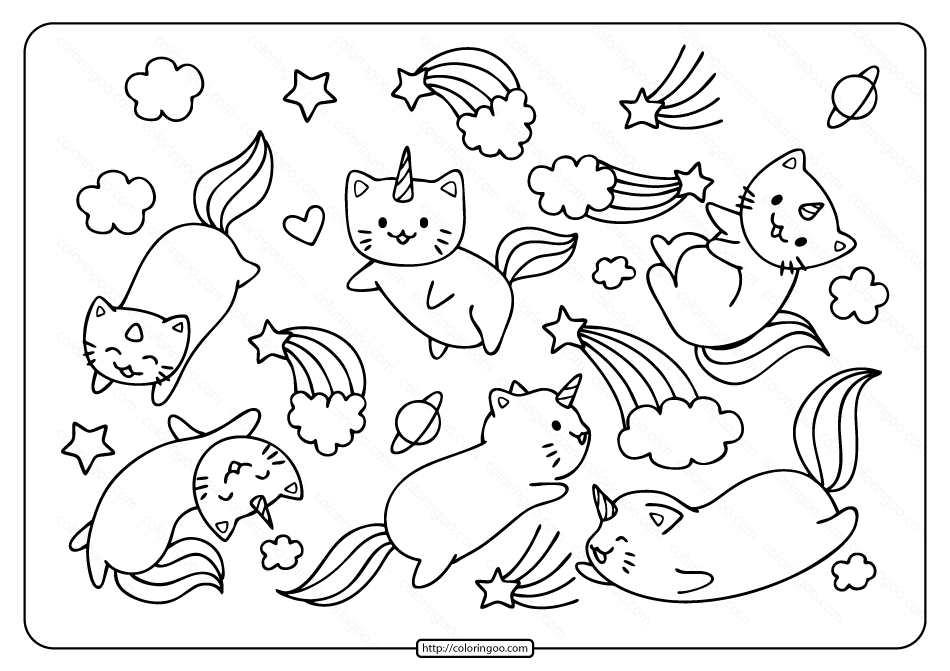 Free Printable Caticorns and Rainbows Coloring Page