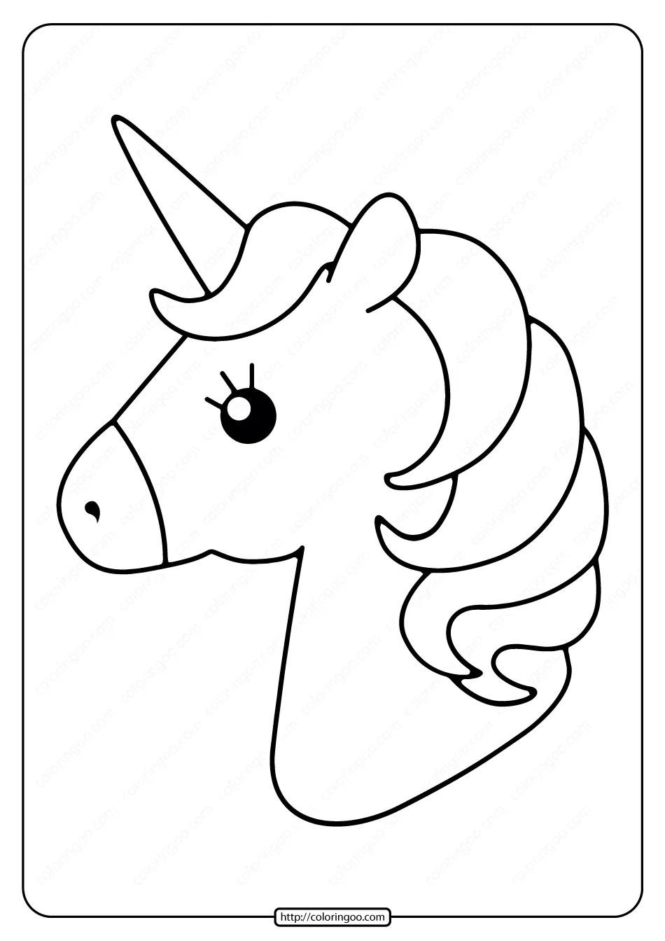 Free Printable Cute Unicorns Pdf Coloring Page