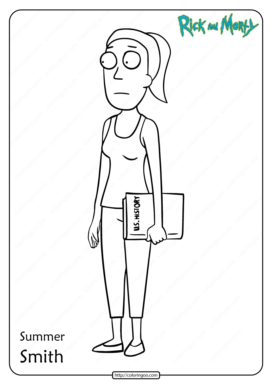 Free Printable Summer Smith Pdf Coloring Page